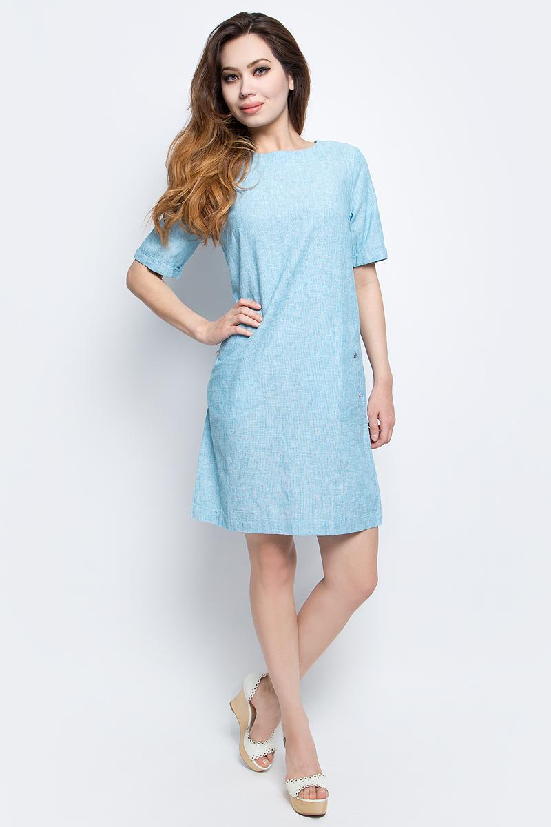 ПлатьеS17-12002_141Платье Finn Flare выполнено из льна и хлопка. Модель с круглым вырезом горловины и короткими рукавами.