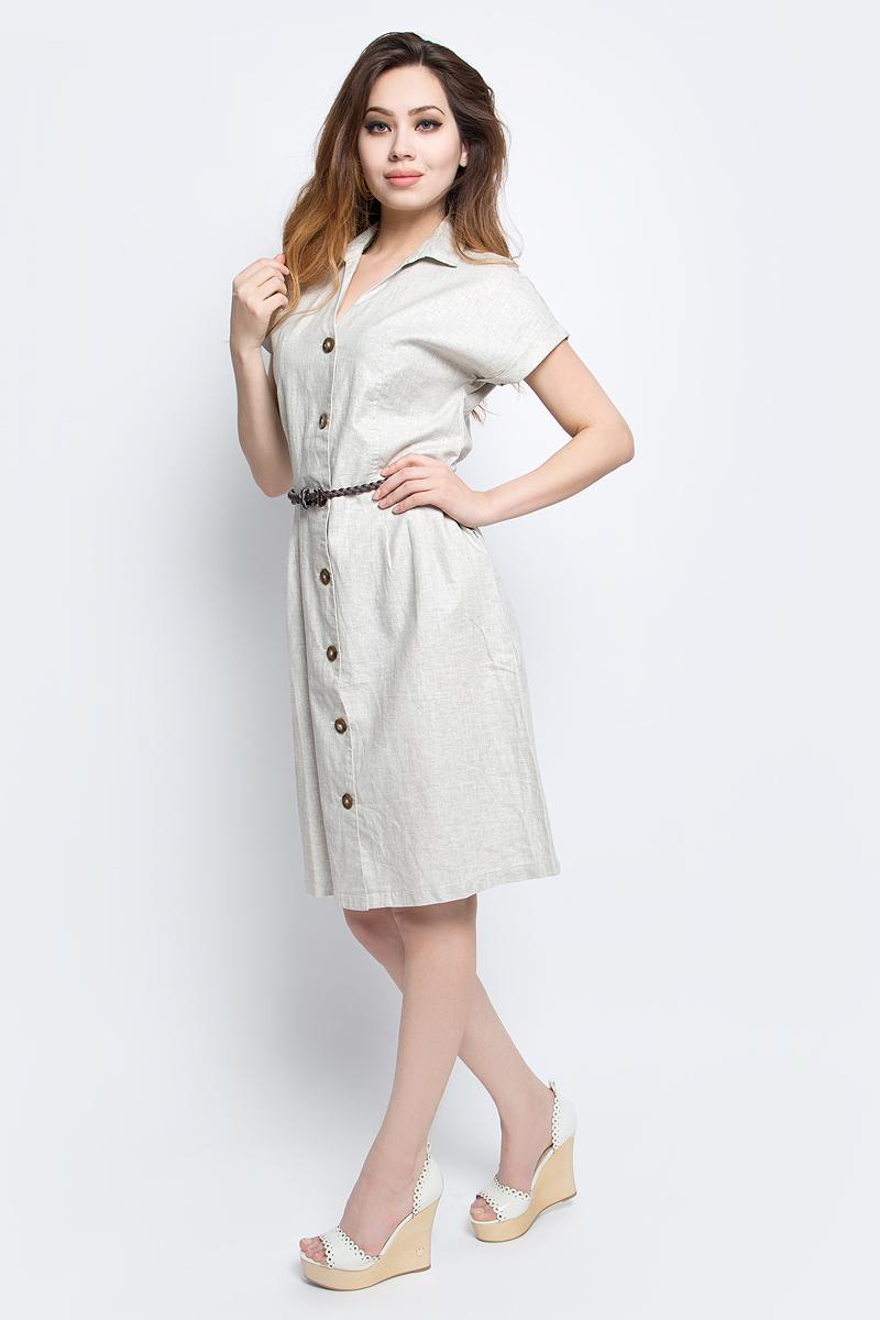 ПлатьеS17-12036_702Платье Finn Flare выполнено из льна и вискозы. Модель с отложным воротником и короткими рукавами.