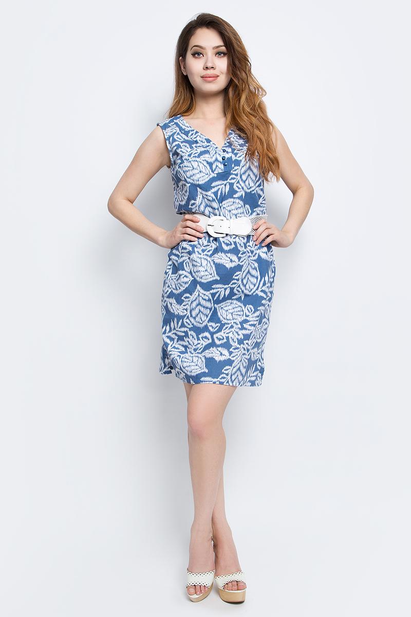 ПлатьеS17-12046_103Платье Finn Flare выполнено из льна и хлопка. Модель с V-образным вырезом горловины застегивается на пуговицы.