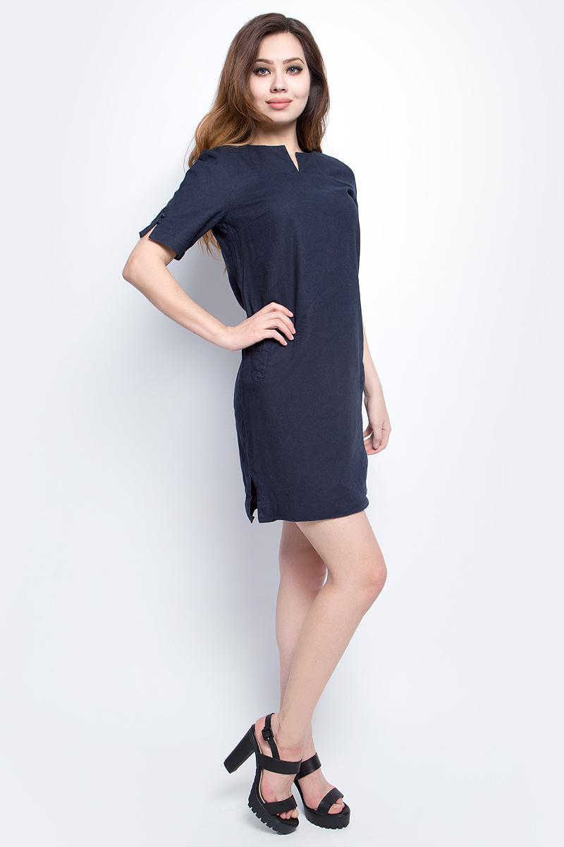 ПлатьеS17-14050_101Платье Finn Flare выполнено из льна и хлопка. Модель с круглым вырезом горловины и короткими рукавами.