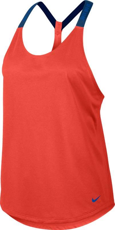 Майка831312-464Майка Nike Womens Dry из влагоотводящей ткани с технологией Dri-FIT, которая отводит от кожи влагу, обеспечивая комфорт. Свободный крой и узкие бретели для исключительной свободы движений. Т-образная спина и эластичные бретели обеспечивают свободу движений.