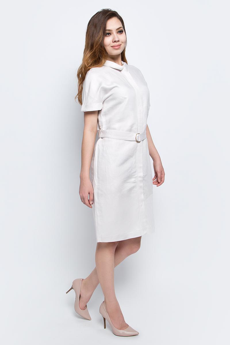 ПлатьеB457065_Sea SaltПлатье Baon выполнено из льна и вискозы. Модель с отложным воротником и короткими рукавами.