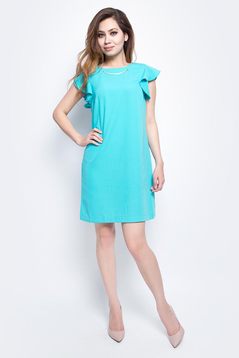 ПлатьеB457081_CanaryЯркое платье Baon с рукавами-оборками выполнено из полиэстера. Изделие имеет прямой крой. Застёжка-молния расположена на спине. Передняя часть платья декорирована металлической деталью.