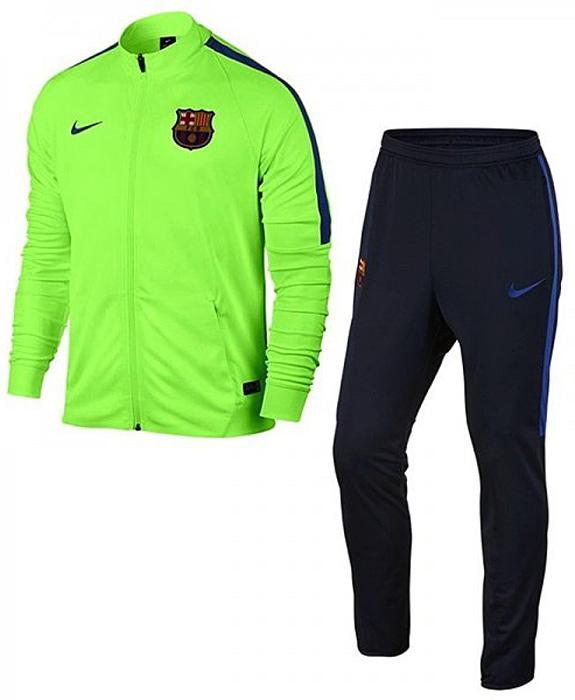 Спортивный костюм808949-368Спортивный костюм Nike Mens Fc Barcelona. Технология Dri-FIT в трикотажной ткани отводит влагу от кожи, а манжеты и кромка из рубчатой ткани обеспечивают плотную посадку, не стесняя движений. Символика ФК «Барселона» и цвета любимого клуба. Молнии на нижних кромках штанин. Карманы на молнии для надежного хранения.