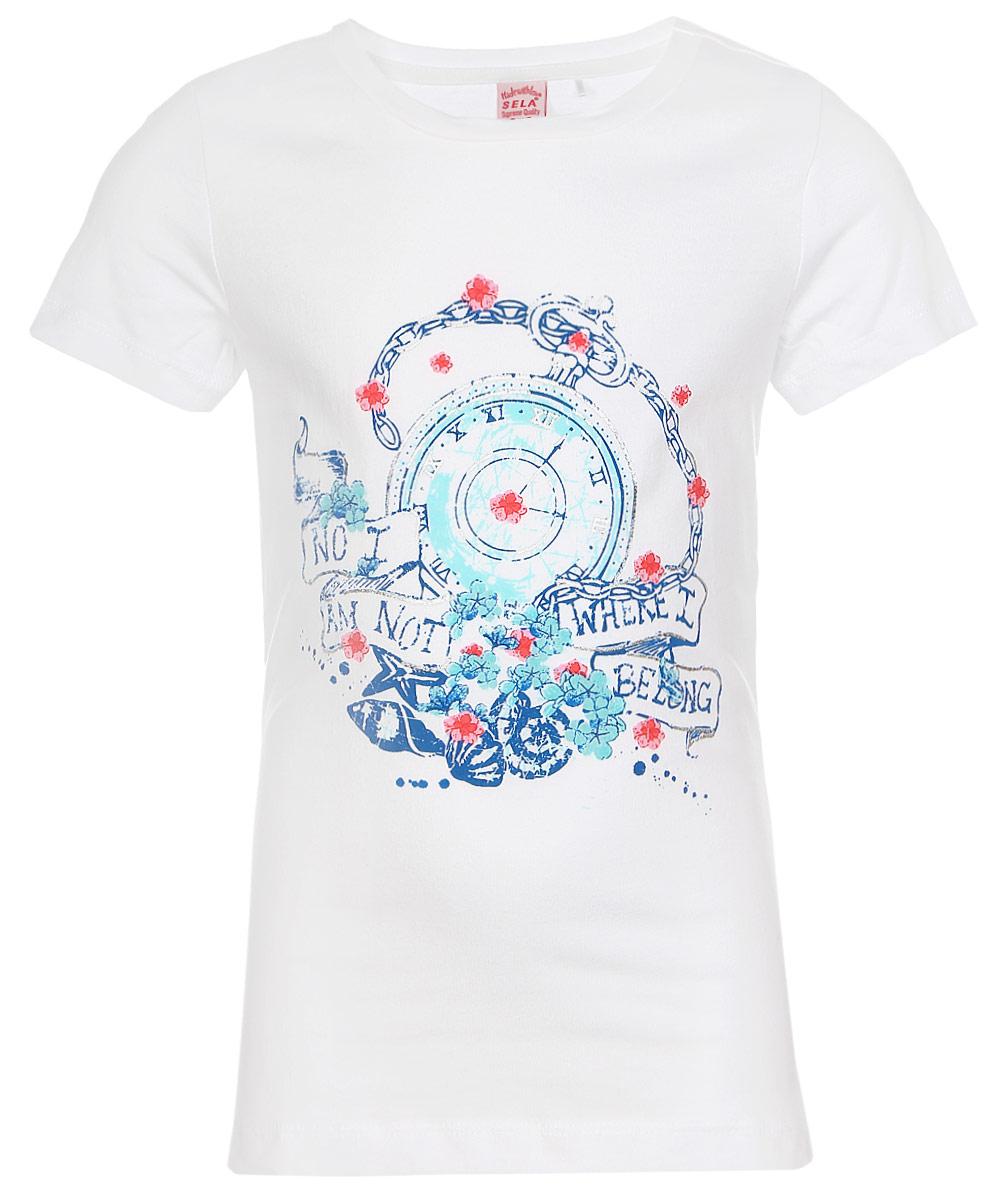 ФутболкаTs-611/963-7233Стильная футболка для девочки Sela изготовлена из натурального хлопка и оформлена оригинальным принтом. Воротник дополнен мягкой трикотажной резинкой. Яркий цвет модели позволяет создавать модные образы.
