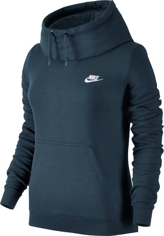 Худи803636-010Джемпер Nike W NSW FNL FLC из гладкого трикотажа. Капюшон со шнурком, прямой крой, один карман, эластичные манжеты и низ изделия, печать с логотипом бренда.