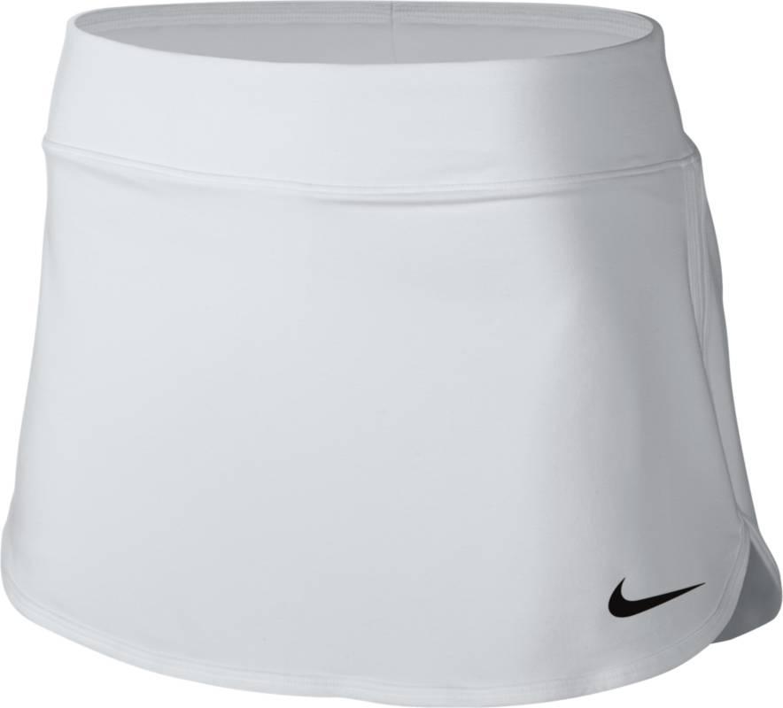 Юбка728777-100Юбка Nike Pure из эластичного материала, тянущегося в четырех направлениях, что обеспечивает комфортную посадку. Ткань Nike Dry с технологией Dri-FIT отводит влагу с кожи на поверхность изделия, где она быстро испаряется. Эластичный пояс, прилегающая подкладка-шорты.