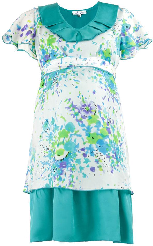 Платье51393514Платье Mammy Size Premium полуприлегающего силуэта, трапециевидной формы, из шелка, отрезное под грудью на поясе, длиной до середины колена. Горловина углубленная, овальной формы с декоративным воланом со складками. Рукав - крылышко, свободной формы с фалдами. Юбка двойная из основной и дополнительной ткани разных длин.