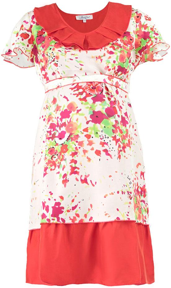 Платье51393537Платье Mammy Size Premium полуприлегающего силуэта, трапециевидной формы, из шелка, отрезное под грудью на поясе, длиной до середины колена. Горловина углубленная, овальной формы с декоративным воланом со складками. Рукав - крылышко, свободной формы с фалдами. Юбка двойная из основной и дополнительной ткани разных длин.