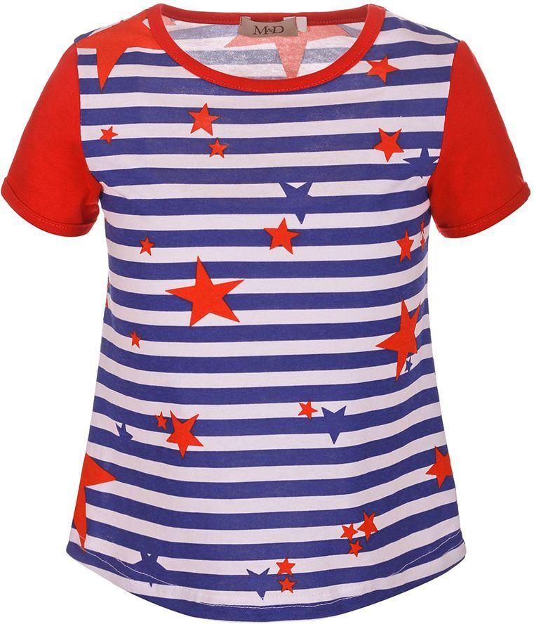 ФутболкаSJF27040M23Футболка для девочки M&D имеет оригинальный яркий дизайн и исполнена из 100% натурального хлопка. Модель имеет круглый вырез горловины, дополненный трикотажной бейкой, стандартный рукав. Футболка оформлена ярким принтом в горизонтальную полоску с разноцветными звездами. Нежная к телу и приятно оформленная текстильная футболка обязательно понравится ребенку и подарит ему комфорт.