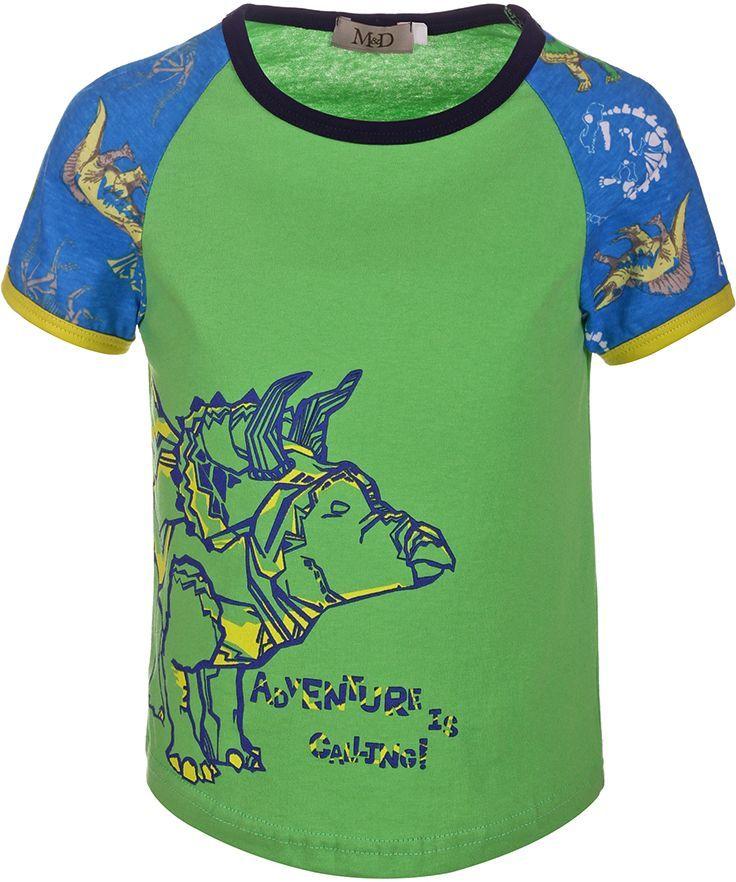 ФутболкаSJF17012M14Футболка для мальчика M&D исполнена из 100% натурального хлопка. Модель имеет круглый вырез горловины, дополненный трикотажной бейкой, которой обшиты так же и рукава-реглан. Футболка оформлена ярким принтом с изображением динозавров. Нежная к телу и приятно оформленная текстильная футболка обязательно понравится ребенку и подарит ему комфорт.