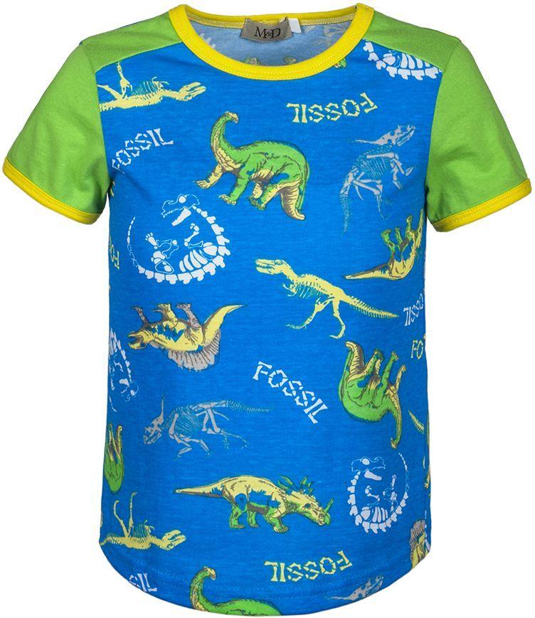 ФутболкаSJF17011M81Футболка для мальчика M&D исполнена из 100% натурального хлопка. Модель имеет круглый вырез горловины, дополненный трикотажной бейкой, короткий рукав. Футболка оформлена ярким принтом с изображением динозавров. Нежная к телу и приятно оформленная текстильная футболка обязательно понравится ребенку и подарит ему комфорт.