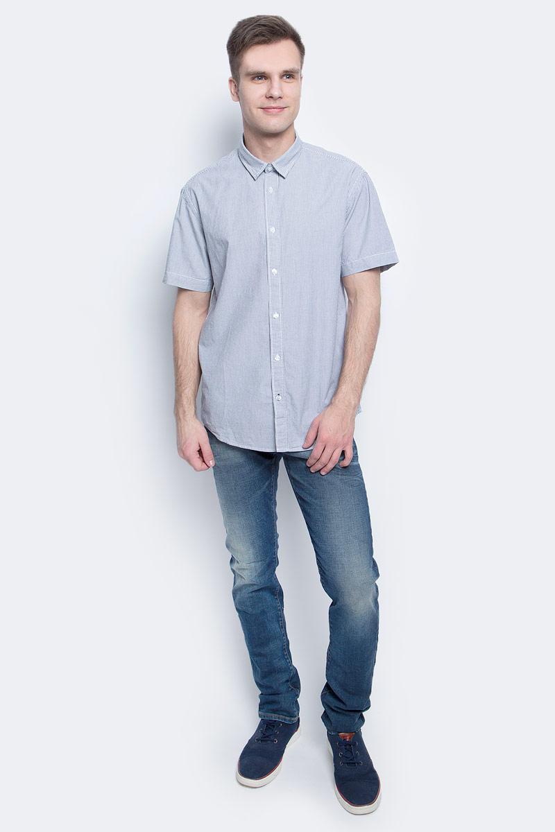 РубашкаB687018_Deep Navy StripedРубашка мужская Baon выполнена из натурального материала. Модель с отложным воротником и короткими рукавами застегивается на пуговицы.