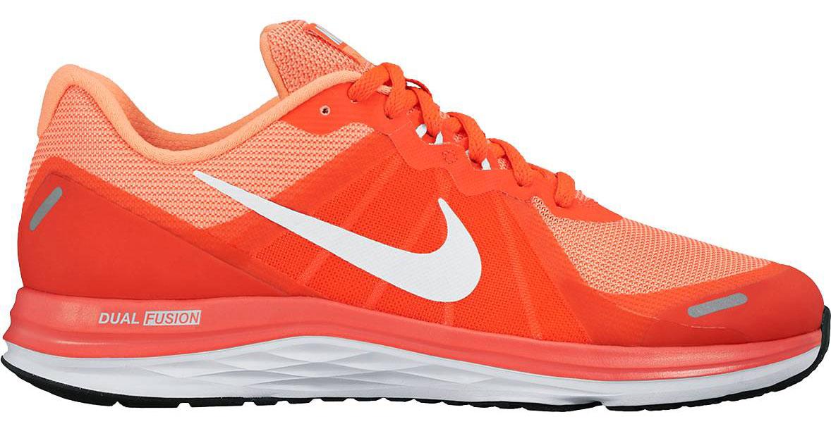Кроссовки819318-600Обувь для бега Nike Wmns Dual из воздухопроницаемого текстиля. Нити Flywire в передней части стопы для усиленной фиксации. Шнуровка; внутренняя отделка из текстиля; подошва из резины.