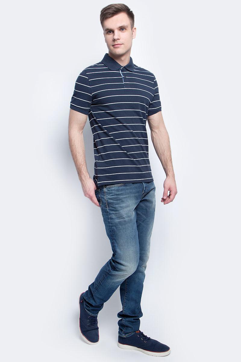 ПолоB707004_White StripedПоло мужское Baon выполнено из натурального хлопка. Модель с отложным воротником и короткими рукавами застегивается на пуговицы.