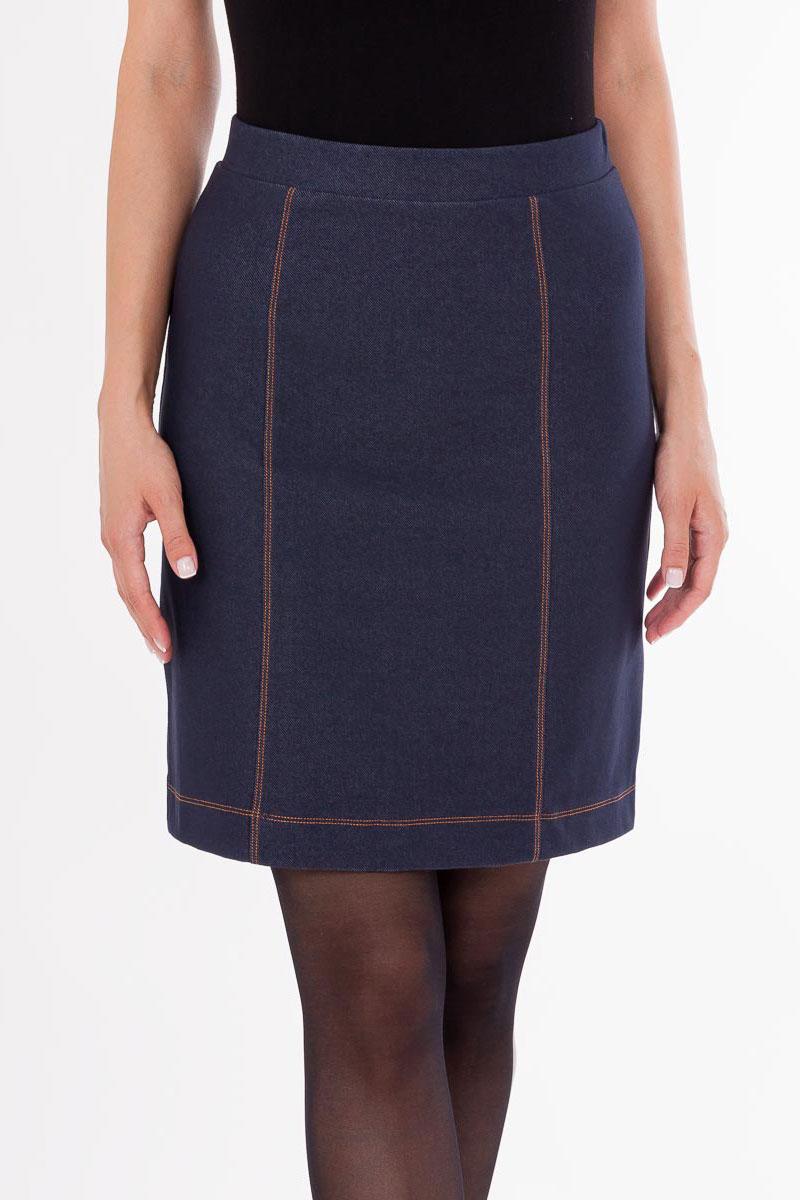 Юбка1345-5_3533Стильная юбка Mark Formelle выполнена под джинс из хлопка с добавлением полиэстера и эластана. Модель длины миди, с небольшим расклешением к низу и стандартной посадкой. Такая строгая и лаконичная модель прекрасно дополнит ваш гардероб.