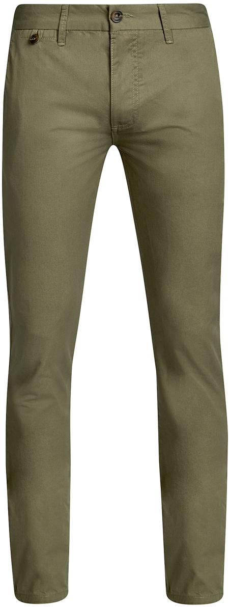 Брюки2B150023M/44264N/2000NМужские брюки oodji Basic выполнены из высококачественного материала. Модель-чинос стандартной посадки застегивается на пуговицу в поясе и ширинку на застежке-молнии. Пояс имеет шлевки для ремня. Спереди брюки дополнены втачными карманами, сзади - прорезными на пуговицах.