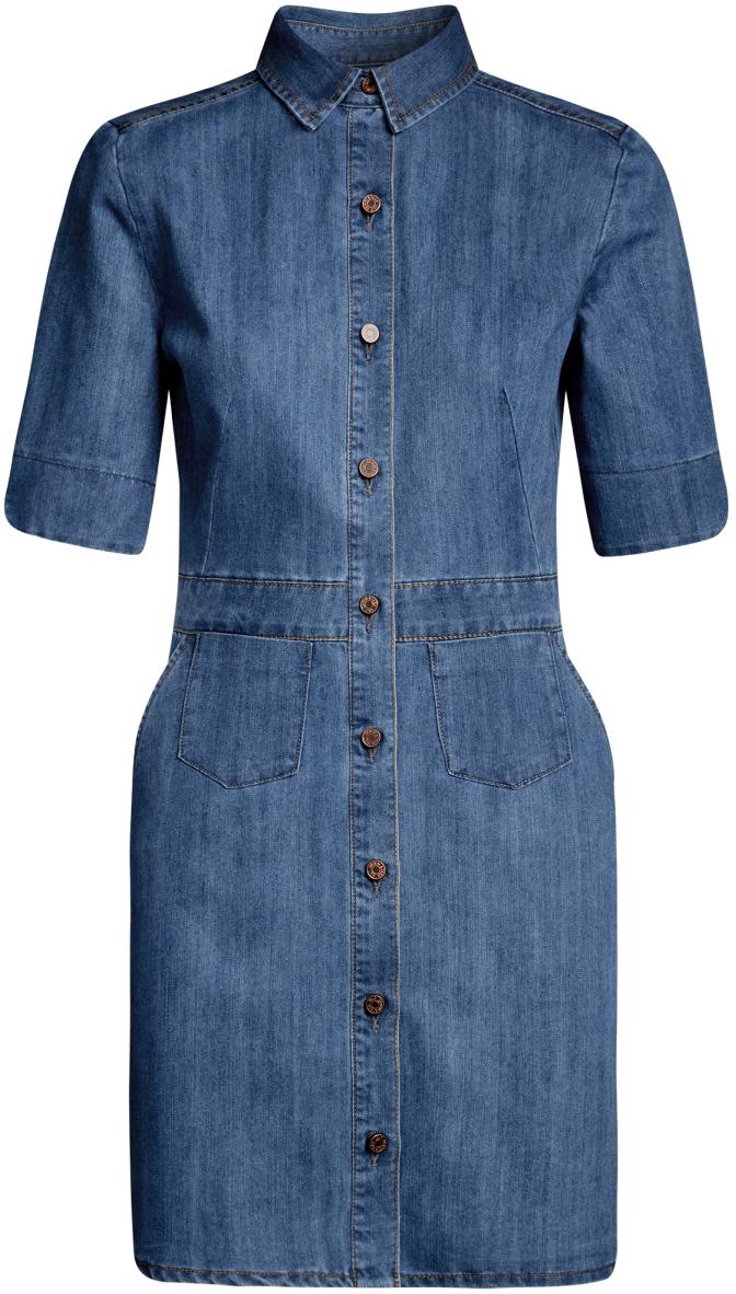 Платье12909051/18361/7000WДжинсовое платье oodji Ultra - стильное и модное решение на каждый день. Модель мини-длины с рукавами до локтя и отложным воротничком спереди застегивается на пуговицы по всей длине. Изделие дополнено вшитым поясом и двумя накладными карманами на юбке.