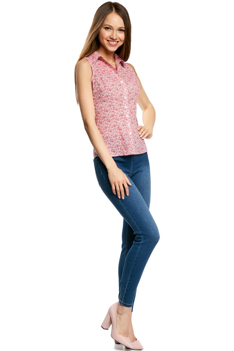 Рубашка11405063-4B/45510/7900NРубашка женская oodji Ultra выполнена из высококачественного материала. Модель с отложным воротником застегивается на пуговицы.
