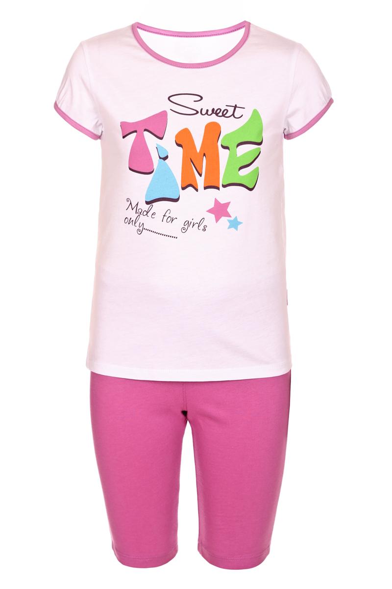 ПижамаПЖ45С0112Пижама для девочки БЕМБІ, выполненная из натурального хлопка, идеально подойдет маленькой принцессе для сна и отдыха. Материал изделия мягкий, тактильно приятный, не сковывает движения, хорошо пропускает воздух. Пижама состоит из футболки и бридж. Футболка с короткими рукавами и круглым вырезом горловины оформлена крупным оригинальным принтом. Бриджи имеют на талии мягкую широкую резинку, благодаря чему они не сдавливают животик ребенка и не сползают. Высокое качество исполнения и дизайн принесут удовольствие от покупки и подарят отличное настроение!