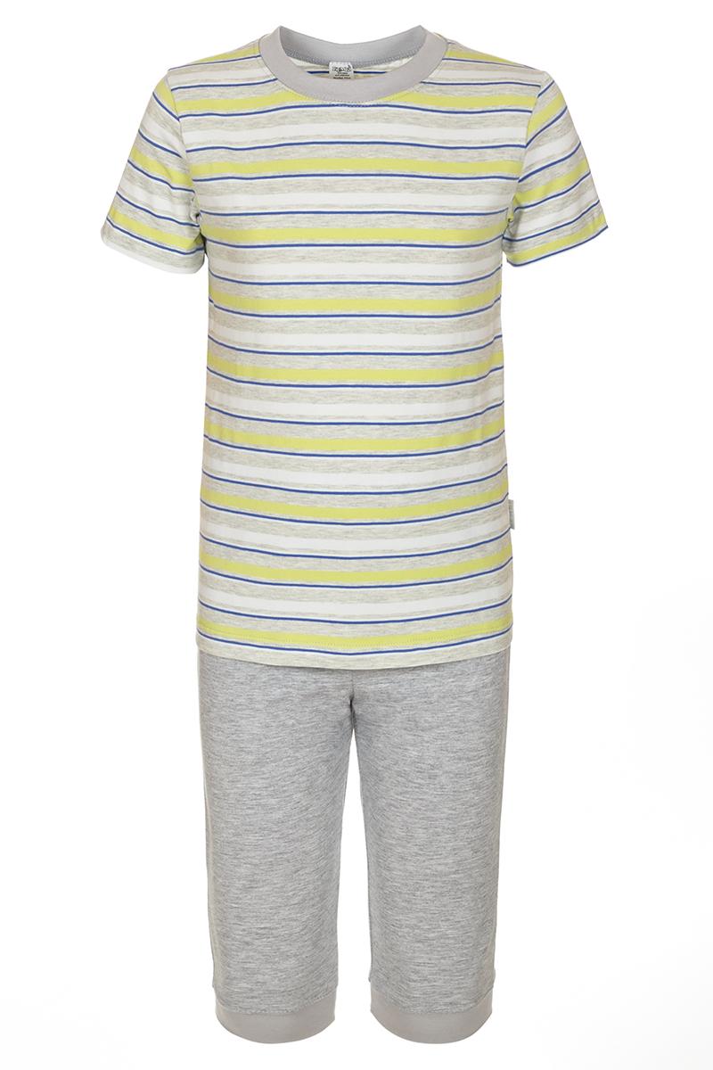 ПижамаПЖ44С0154Пижама для мальчика БЕМБІ, выполненная из натурального хлопка, идеально подойдет для сна и отдыха. Материал изделия мягкий, тактильно приятный, не сковывает движения, хорошо пропускает воздух. Пижама состоит из футболки и бридж. Футболка с короткими рукавами и круглым вырезом горловины оформлена принтом в полоску. Бриджы имеют на талии мягкую широкую резинку, благодаря чему они не сдавливают животик ребенка и не сползают.