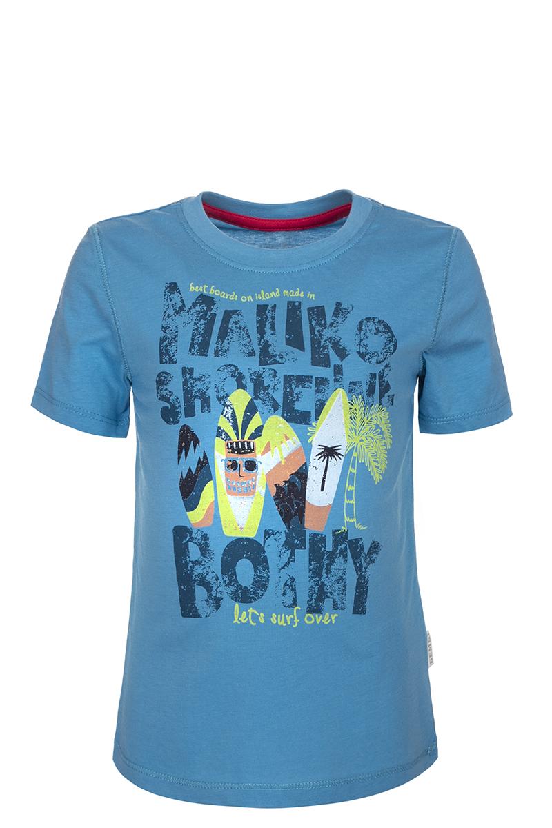ФутболкаФБ388С0111Детская футболка БЕМБІ изготовлена из натурального хлопка. Модель выполнена с круглым вырезом горловины и короткими рукавами. Крупный принт на груди придает изделию оригинальность.