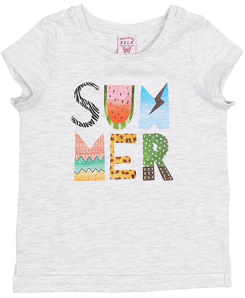 ФутболкаTs-511/406-7214Стильная футболка для девочки Sela изготовлена из натурального хлопка. Модель прямого кроя с удлиненной спинкой оформлена оригинальным принтом с надписями. Воротник дополнен мягкой эластичной бейкой. Универсальный цвет позволяет сочетать модель с любой одеждой.