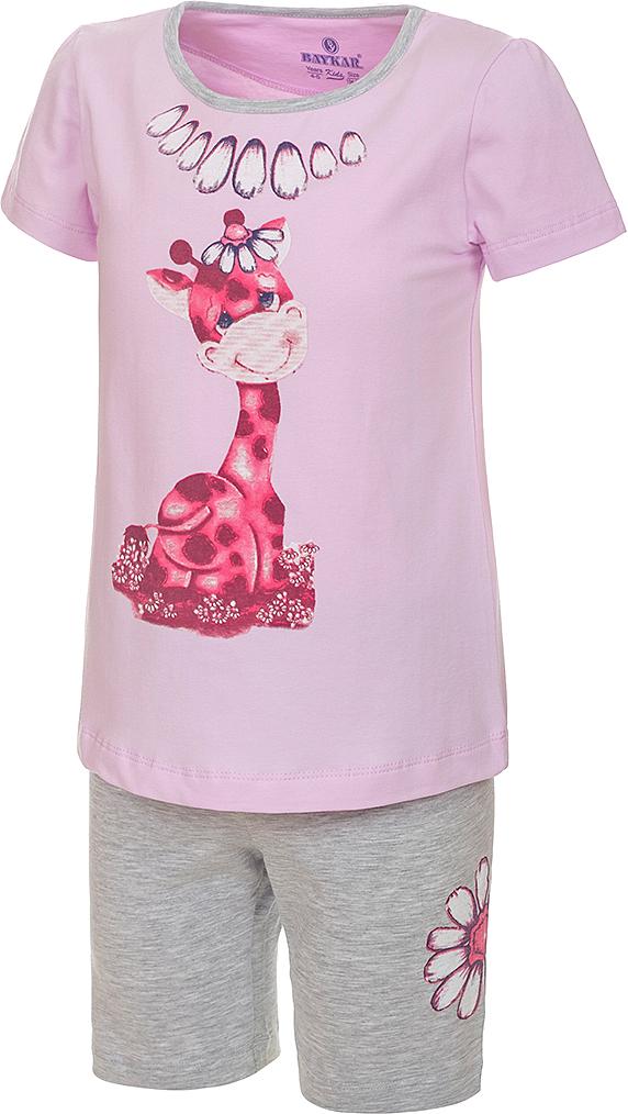 ПижамаN9310216A-59Пижама для девочки Baykar, выполненная из эластичного хлопка, идеально подойдет маленькой принцессе для сна и отдыха. Материал изделия мягкий, тактильно приятный, не сковывает движения, хорошо пропускает воздух. Пижама состоит из футболки с коротким рукавом и шортиков. Футболка с короткими рукавами и круглым вырезом горловины украшена ярким принтом. Шортики имеют на талии мягкую резинку, благодаря чему они не сдавливают животик ребенка и не сползают. Высокое качество исполнения и дизайн принесут удовольствие от покупки и подарят отличное настроение!