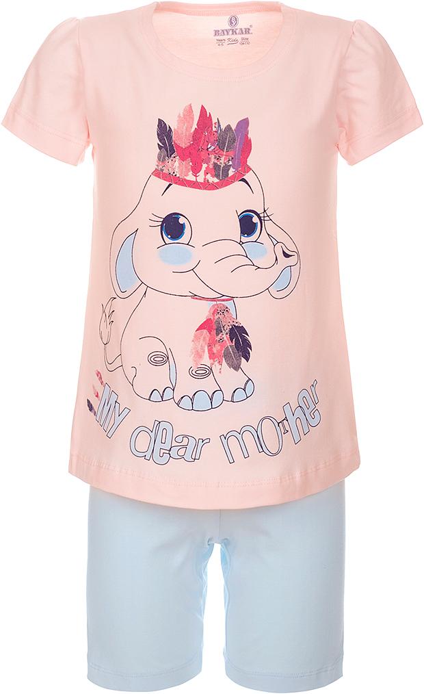 ПижамаN9311248A-5Пижама для девочки Baykar, выполненная из эластичного хлопка, идеально подойдет маленькой принцессе для сна и отдыха. Материал изделия мягкий, тактильно приятный, не сковывает движения, хорошо пропускает воздух. Пижама состоит из футболки с коротким рукавом и коротких брюк. Футболка с короткими рукавами и круглым вырезом горловины украшена ярким принтом. Брюки прямого кроя имеют на талии мягкую широкую резинку, благодаря чему они не сдавливают животик ребенка и не сползают. Высокое качество исполнения и дизайн принесут удовольствие от покупки и подарят отличное настроение!