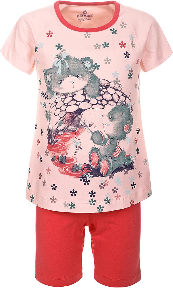ПижамаN9313248A-5Пижама для девочки Baykar, выполненная из эластичного хлопка, идеально подойдет маленькой принцессе для сна и отдыха. Материал изделия мягкий, тактильно приятный, не сковывает движения, хорошо пропускает воздух. Пижама состоит из футболки с коротким рукавом и коротких брюк. Футболка с короткими рукавами и круглым вырезом горловины украшена ярким принтом. Брюки прямого кроя имеют на талии мягкую широкую резинку, благодаря чему они не сдавливают животик ребенка и не сползают. Высокое качество исполнения и дизайн принесут удовольствие от покупки и подарят отличное настроение!