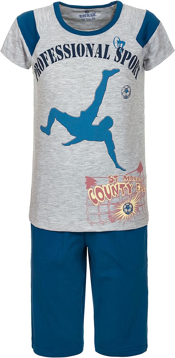 ПижамаN9612220A-20Яркая пижама для мальчика Baykar, состоящая из футболки и шортиков, идеально подойдет вашему малышу и станет отличным дополнением к детскому гардеробу. Пижама, изготовленная из натурального хлопка, необычайно мягкая и легкая, не сковывает движения ребенка, позволяет коже дышать и не раздражает даже самую нежную и чувствительную кожу малыша. Футболка с короткими рукавами и круглым вырезом горловины спереди декорирована принтом. Шортики прямого кроя однотонного цвета на широкой эластичной резинке не сдавливают животик ребенка и не сползают. В такой пижаме ваш маленький непоседа будет чувствовать себя комфортно и уютно во время сна.
