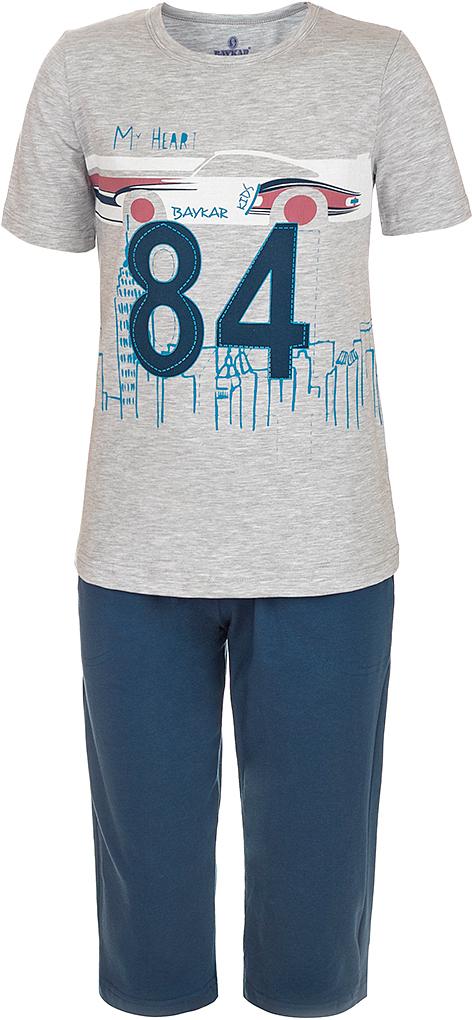 ПижамаN9615220B-20Яркая пижама для мальчика Baykar, состоящая из футболки и шортиков, идеально подойдет вашему малышу и станет отличным дополнением к детскому гардеробу. Пижама, изготовленная из натурального хлопка, необычайно мягкая и легкая, не сковывает движения ребенка, позволяет коже дышать и не раздражает даже самую нежную и чувствительную кожу малыша. Футболка с короткими рукавами и круглым вырезом горловины спереди декорирована принтом. Шортики прямого кроя однотонного цвета на широкой эластичной резинке не сдавливают животик ребенка и не сползают. В такой пижаме ваш маленький непоседа будет чувствовать себя комфортно и уютно во время сна.