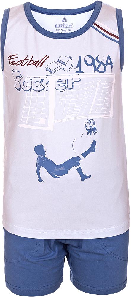 ПижамаN9614207A-9Яркая пижама для мальчика Baykar, состоящая из футболки и шортиков, идеально подойдет вашему малышу и станет отличным дополнением к детскому гардеробу. Пижама, изготовленная из натурального хлопка, необычайно мягкая и легкая, не сковывает движения ребенка, позволяет коже дышать и не раздражает даже самую нежную и чувствительную кожу малыша. Футболка без рукавов и круглым вырезом горловины спереди декорирована принтом. Шортики прямого кроя однотонного цвета с карманами на широкой эластичной резинке не сдавливают животик ребенка и не сползают. В такой пижаме ваш маленький непоседа будет чувствовать себя комфортно и уютно во время сна.