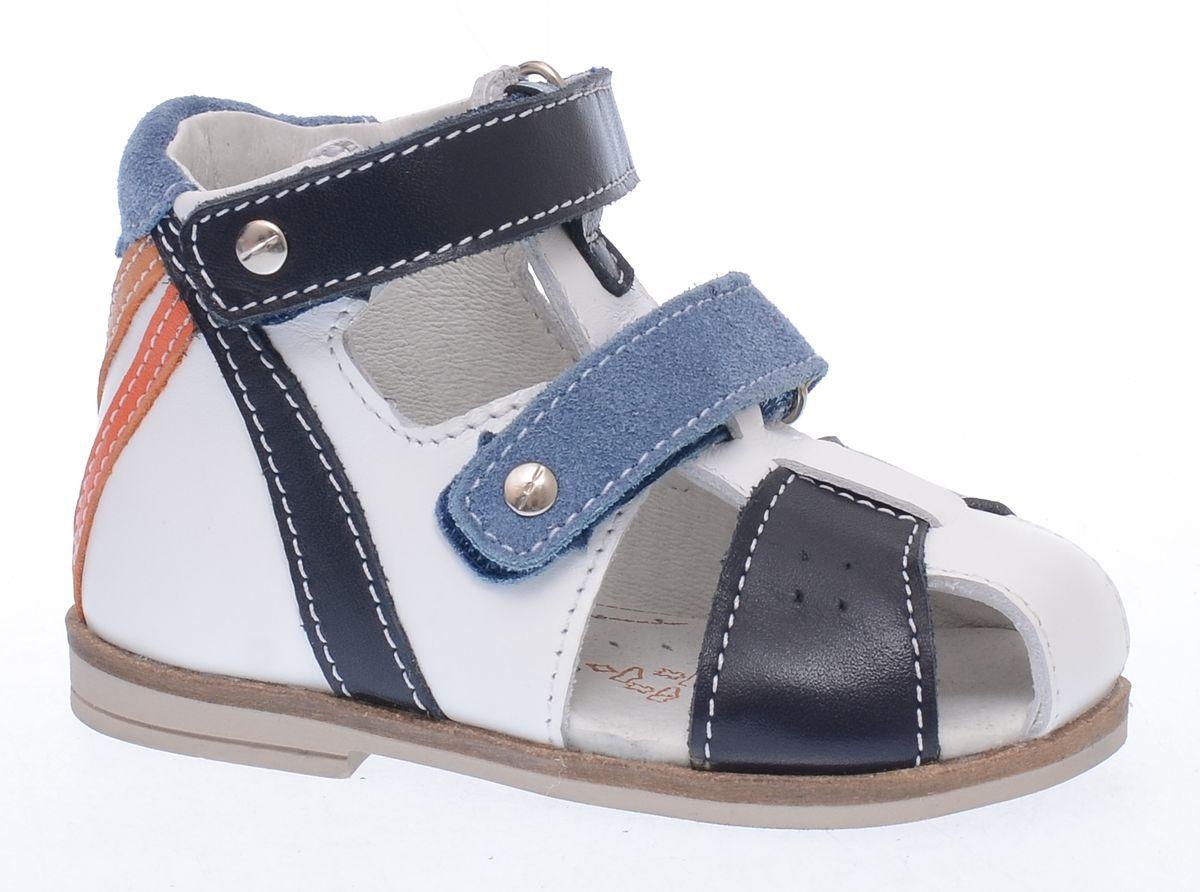 Туфли022065-21Удобные сандалии из коллекции Первые шаги разработаны специально для вашего малыша. Модель выполнена полностью из натуральной кожи. Подошва дополнена невысоким каблучком (прим. 4-5мм), присутствие которого обеспечивает ножке малыша правильное развитие и украшена стильным кожаным рантом. Высокий жесткий задник надежно зафиксирует стопу, а это значит, что ребенок будет чувствовать себя максимально удобно. Закрытая носочная часть не позволит повредить пальчики малыша при ходьбе. За счет ремня в носочной части можно регулировать посадку сандалий на ступне, что делает эту модель универсальной для ножек любой полноты. Мягкий манжет создает комфорт при ходьбе и предотвращает натирание ножки ребенка. Лаконичная расцветка и минимум декора-отличный выбор для первых шагов вашего малыша!