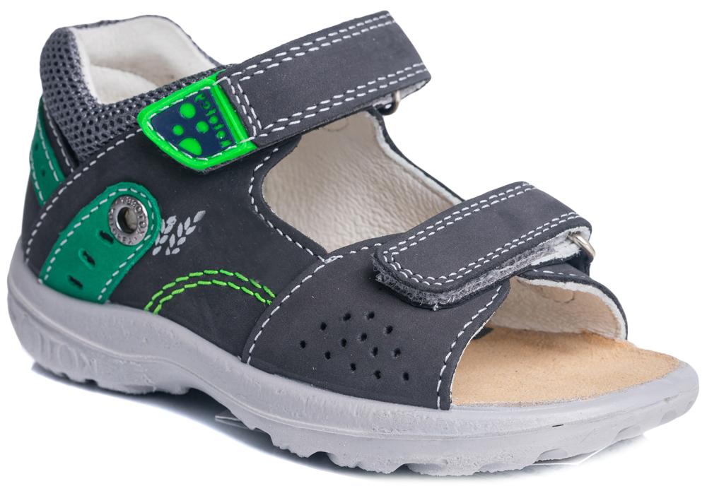 Сандалии122070-21Стильные сандалии с открытым мыском от Котофей покорят вашего мальчика с первого взгляда! Модель выполнена из натуральной высококачественной кожи и оформлена по канту текстильной вставкой контрастного цвета, на верхнем ремешке - вставкой из ПВХ с названием бренда, сбоку - перфорацией, оригинальным принтом и нашивкой из замши с декоративным люверсом, на заднике - нашивкой из замши с перфорацией. Полужесткий закрытый задник и фиксирующие ремешки надежно закрепят ножку ребенка, не давая ей смещаться из стороны в сторону и назад. Подкладка и стелька, изготовленные из натуральной кожи, предотвратят натирание и гарантируют уют. Стелька дополнена супинатором с перфорацией, который обеспечивает правильное положение ноги ребенка при ходьбе, предотвращает плоскостопие. Рифленая поверхность подошвы обеспечивает лучшее сцепление с любой поверхностью. Модные сандалии поднимут настроение вам и вашему ребенку!