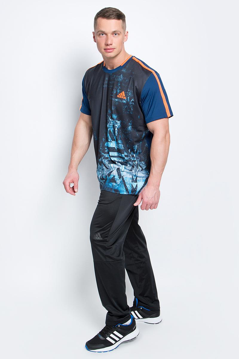 ФутболкаB45798Футболка Essex Tr Tee от adidas выполнена из полиэфира с добавлением эластана и оформлена оригинальным принтом. У модели круглый вырез горловины и стандартные короткие рукава. Технология climalite отводит пот и оставляет поверхность вашего тела сухой.
