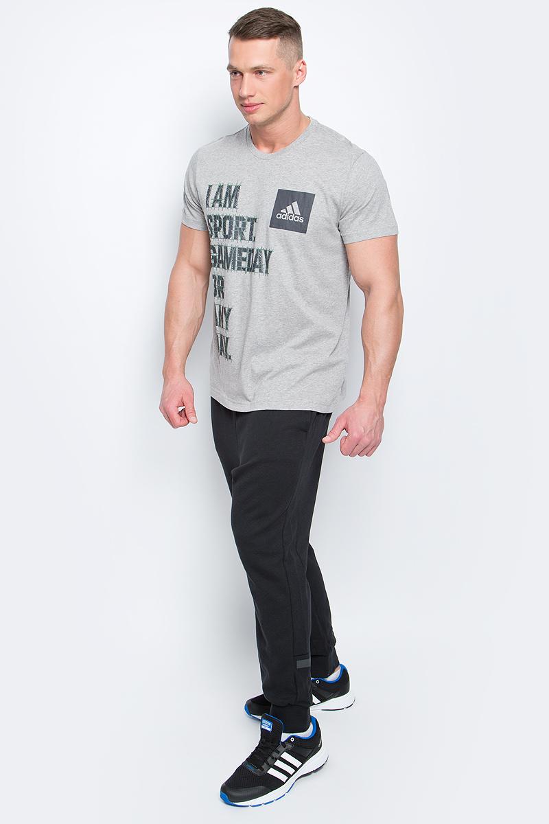 ФутболкаBK2811Футболка I Am Sport от adidas выполнена из хлопковой ткани. У модели круглый вырез горловины и короткие стандартные рукава. Спереди изделие декорировано принтом с надписью.