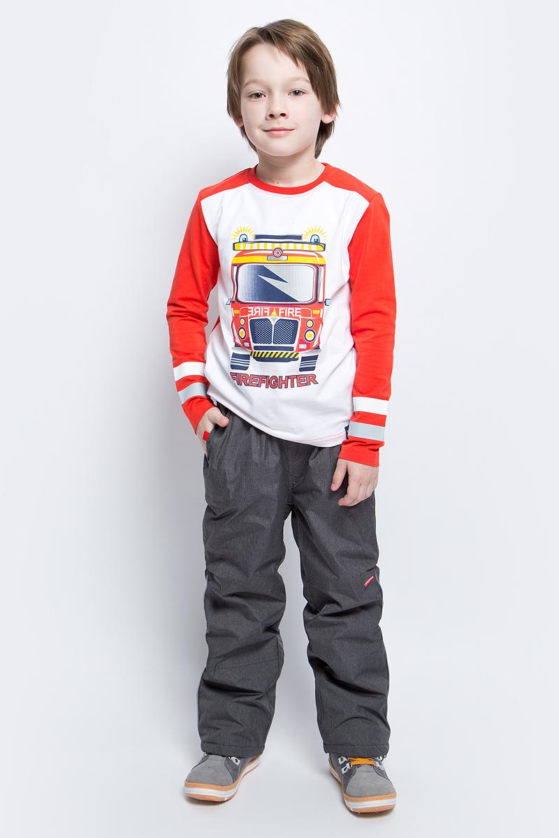 Футболка с длинным рукавом171071Футболка с длинным рукавом для мальчика PlayToday выполнена из эластичного хлопка. Модель с круглым вырезом горловины и длинными рукавами оформлена оригинальным принтом.