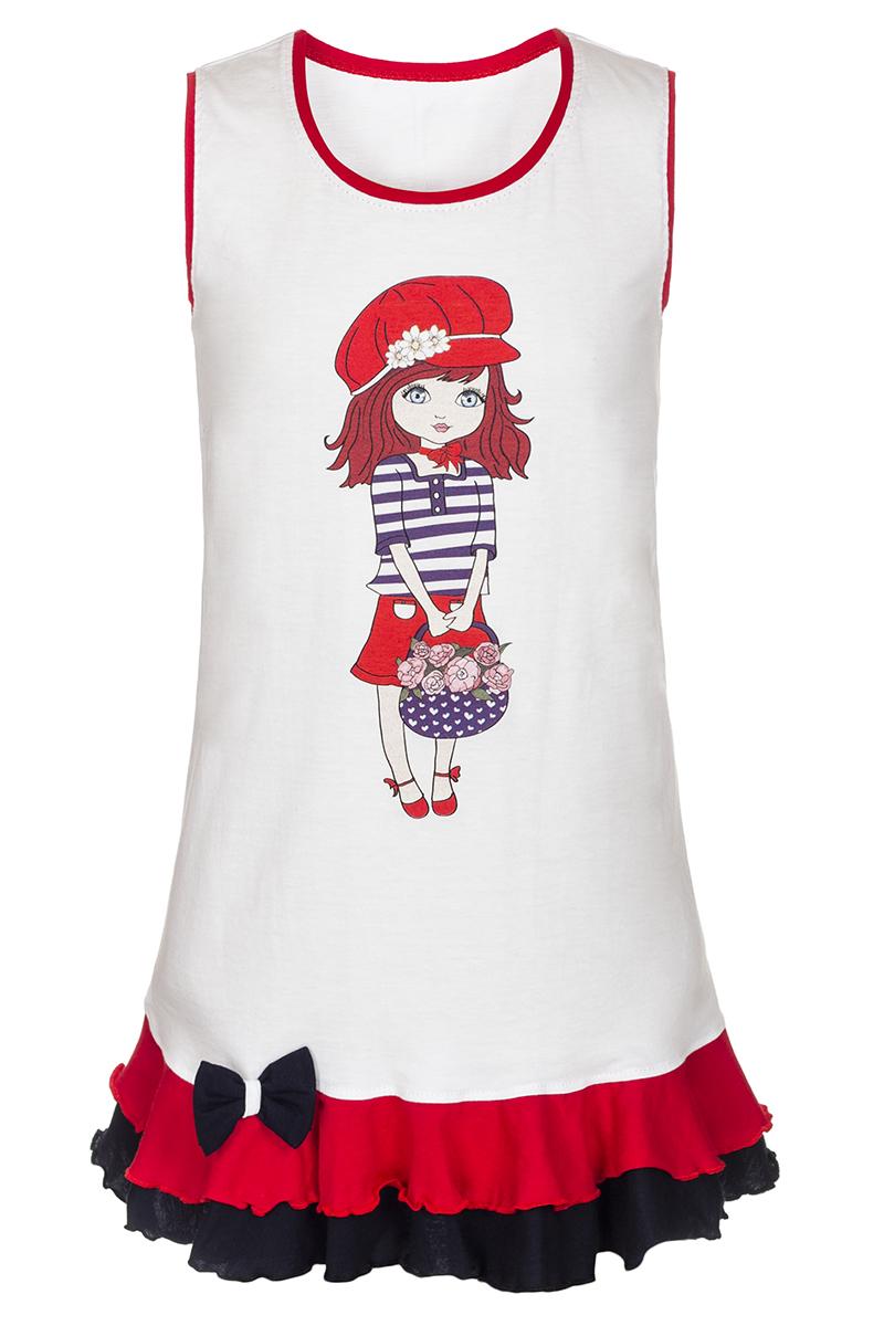 ПлатьеМ77801Платье для девочки M&D будет модным и практичным акцентом детского гардероба. Изготовленное из мягкого хлопка, оно тактильно приятное, хорошо пропускает воздух. Платье с круглым вырезом горловины и без рукавов. По подолу платье оформлено рюшами и украшено текстильным бантиком. Изделие оформлено принтом с изображением милой нарисованной девочки.