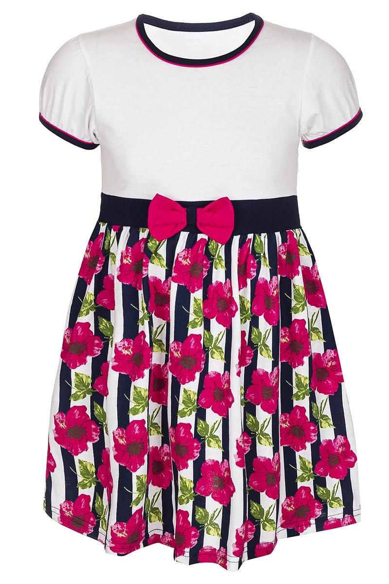 ПлатьеМ76529Платье для девочки M&D станет отличным вариантом для прогулок или праздников. Изготовленное из мягкого хлопка, оно тактильно приятное, хорошо пропускает воздух. Платье с круглым вырезом горловины и короткими рукавами-фонариками, обшитыми по краям трикотажной бейкой контрастного цвета, будет хорошо смотреться на юной моднице. От линии талии заложены складочки, придающие платью пышность. Юбка платья оформлена принтом в вертикальную полоску с изображением цветков, на талии имеется текстильный бантик.