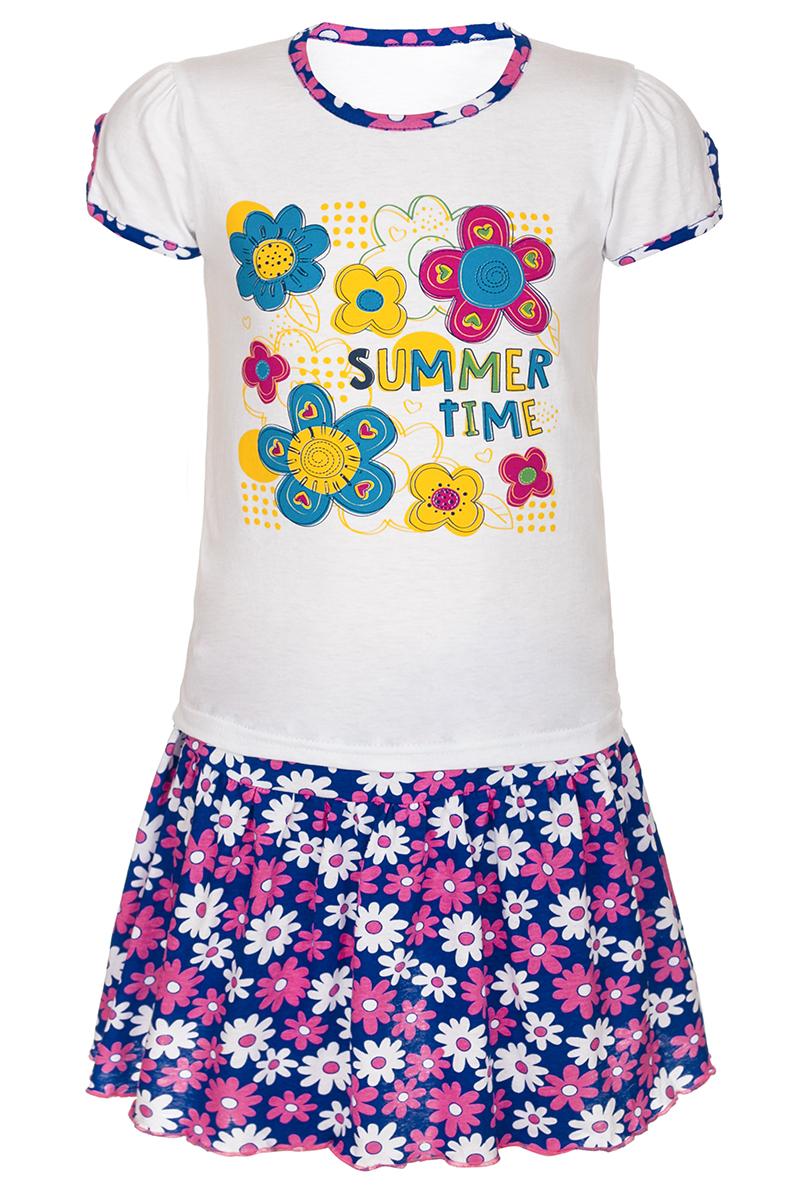 Комплект одеждыМ16402Комплект для девочки M&D выполнен из натурального хлопка. В комплект входит футболка и юбка. Футболка с круглым вырезом горловины украшена принтом. Юбка дополнена эластичной резинкой на талии.
