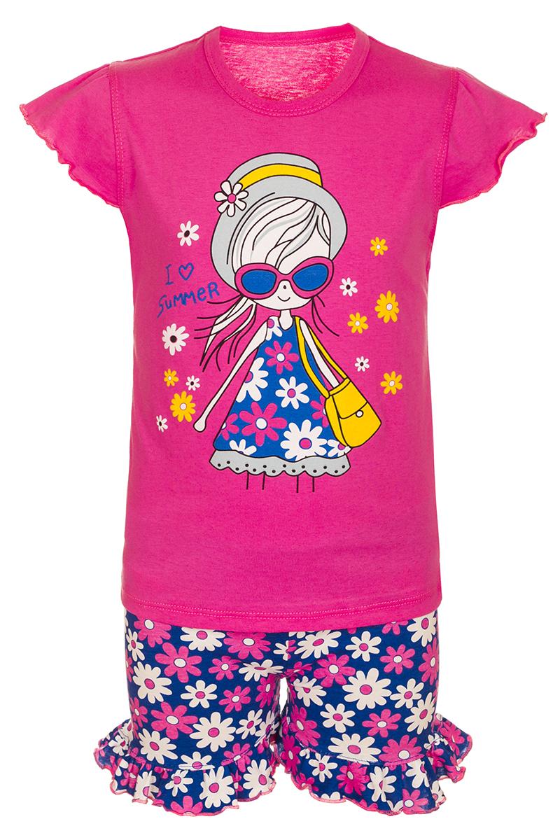 Комплект одеждыМ10702Комплект для девочки M&D выполнен из натурального хлопка. В комплект входит футболка и шорты. Футболка с круглым вырезом горловины украшена принтом. Шорты дополнены эластичной резинкой на талии.
