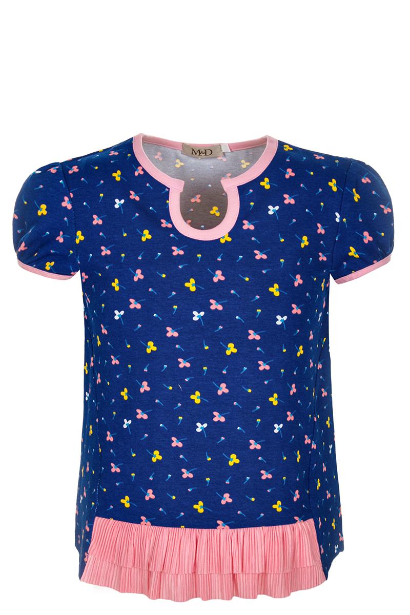 БлузкаSJR27020M029Блузка для девочки M&D выполнена из хлопка. Модель с круглым вырезом горловины и короткими рукавами оформлена оригинальным принтом.