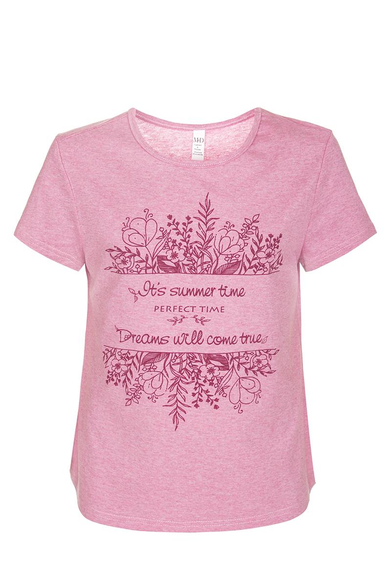 ФутболкаSJF27044S05Футболка для девочки M&D исполнена из 100% натурального хлопка. Модель имеет круглый вырез горловины, короткие рукава. Футболка оформлена принтом с надписью на английском языке. Нежная к телу и приятно оформленная текстильная футболка обязательно понравится ребенку и подарит ему комфорт.