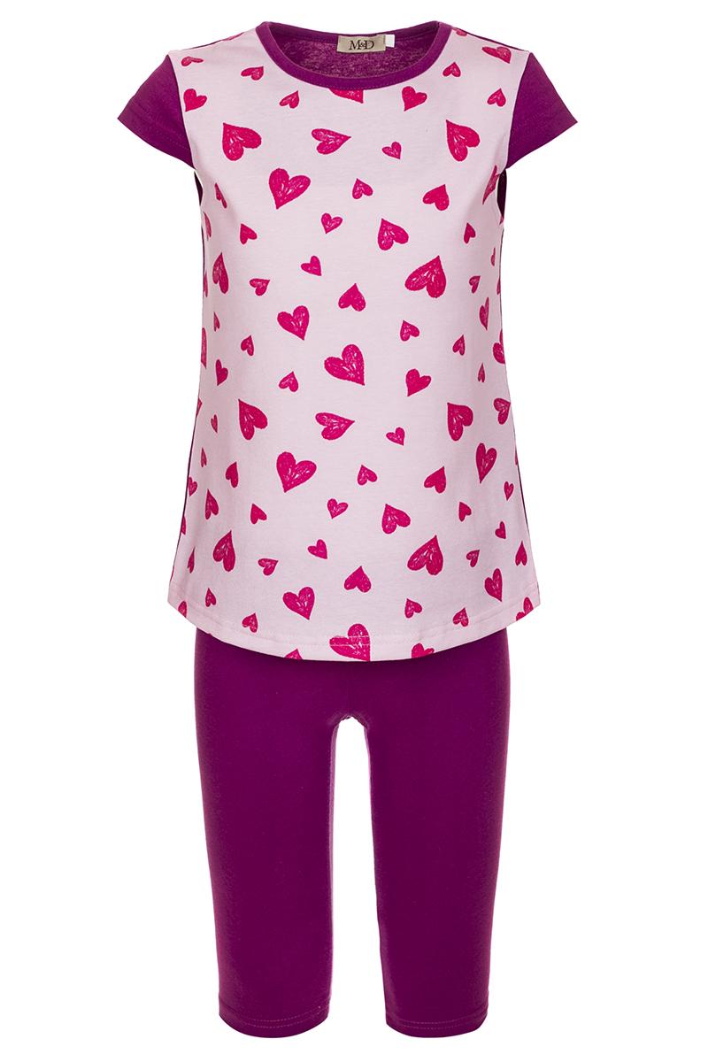 Комплект одеждыSJI27023M05Комплект для девочки M&D выполнен из натурального хлопка. В комплект входит футболка и шорты. Футболка с круглым вырезом горловины украшена принтом. Шорты дополнены эластичной резинкой на талии.