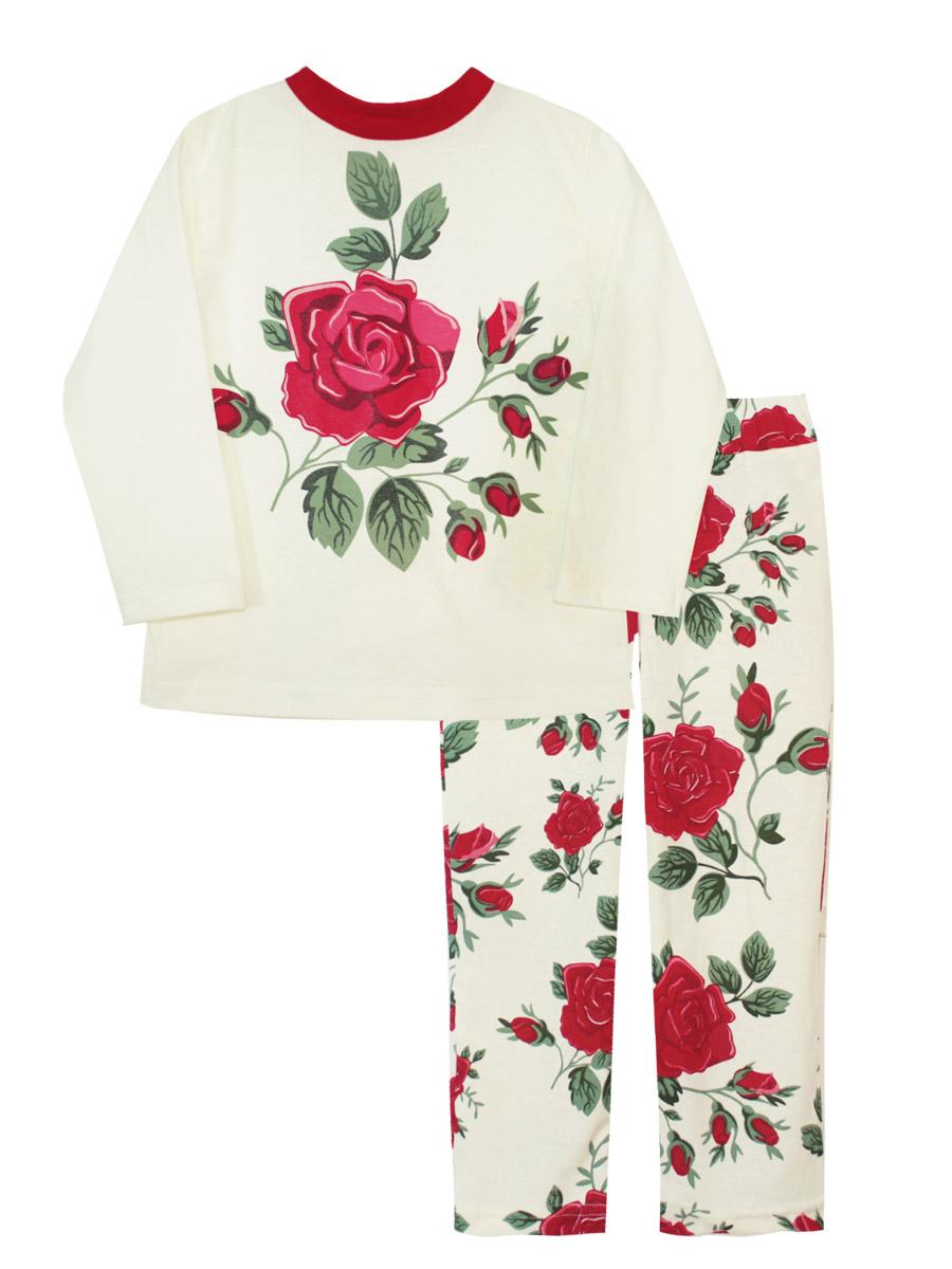 Пижама16638Пижама для девочки КотМарКот изготовлена из натурального хлопка и состоит из кофточки и брючек. Кофточка выполнена с длинными рукавами и удобным круглым воротом. Штанишки на талии собраны на эластичную резинку. Пижама оформлена оригинальным термопринтом.