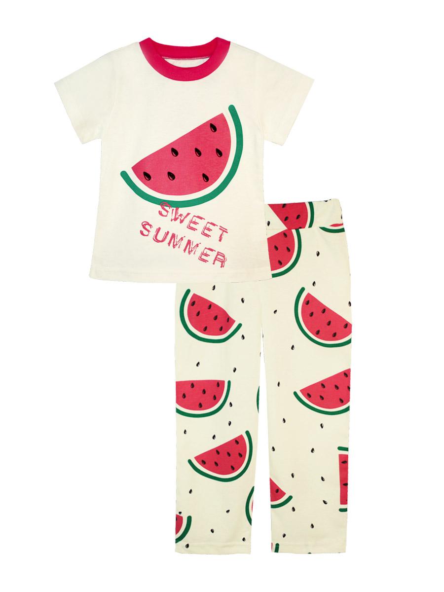 Пижама16737Пижама для девочки КотМарКот выполнена из натурального хлопка и состоит из футболки и брючек. Футболка выполнена с короткими рукавами и удобным круглым воротом. Штанишки на талии собраны на эластичную резинку. Пижама оформлена яркими термопринтами.
