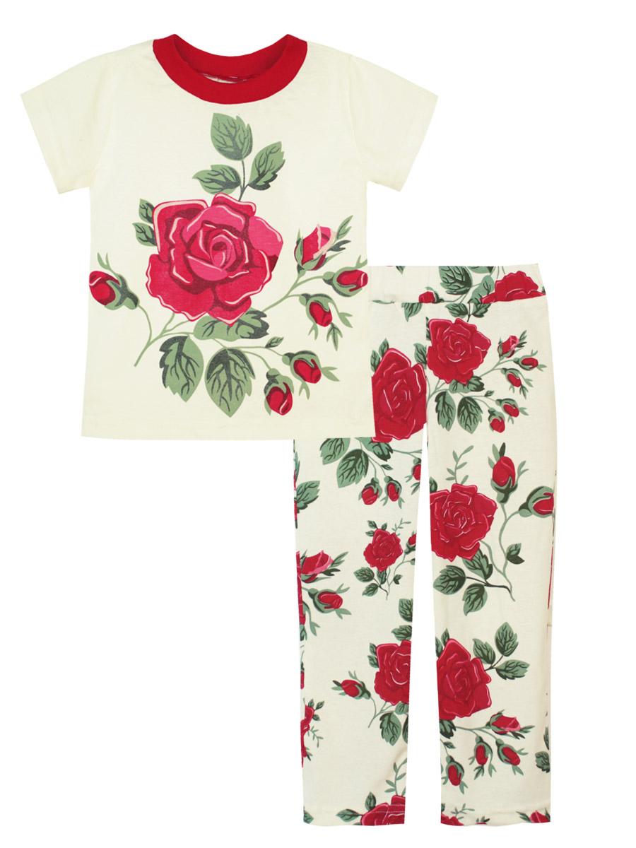 Пижама16738Пижама для девочки КотМарКот выполнена из натурального хлопка и состоит из футболки и брючек. Футболка выполнена с короткими рукавами и удобным круглым воротом. Штанишки на талии собраны на эластичную резинку. Пижама оформлена яркими термопринтами.