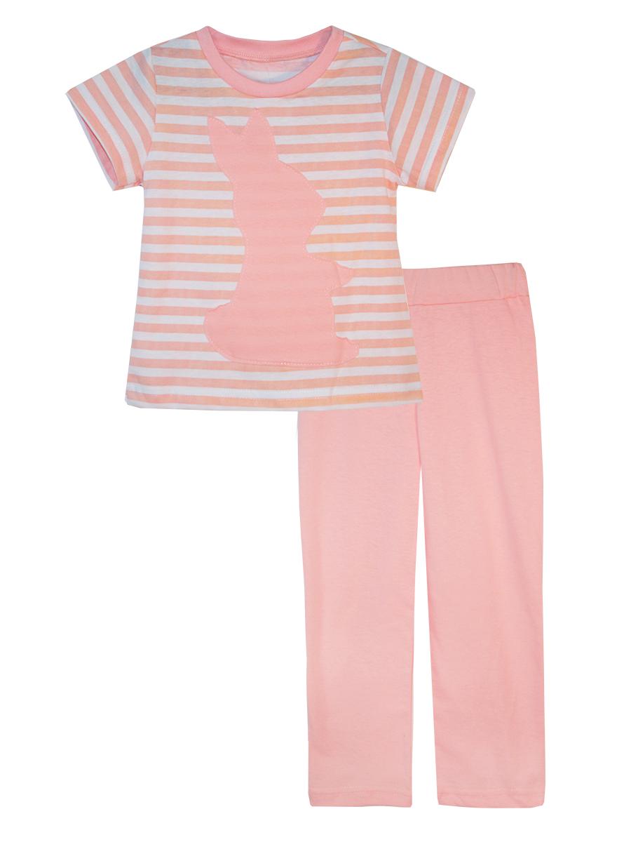 Пижама16712Пижама для девочки КотМарКот выполнена из натурального хлопка и состоит из футболки и брючек. Футболка выполнена с короткими рукавами и удобным круглым воротом. Штанишки на талии собраны на эластичную резинку. Футболка оформлена крупной однотонной аппликацией.