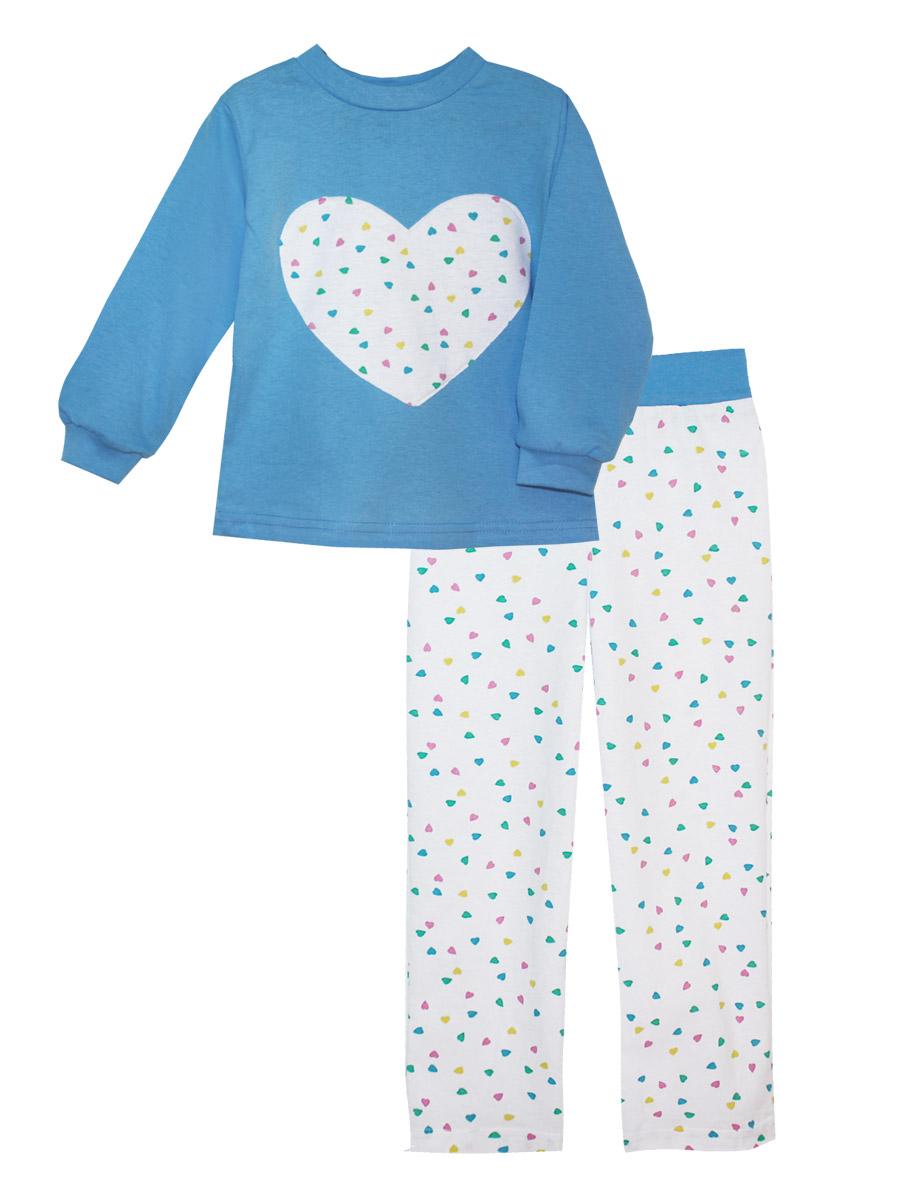 Пижама16613Пижама для девочки КотМарКот изготовлена из натурального хлопка и состоит из кофточки и брючек. Кофточка выполнена с длинными рукавами и удобным круглым воротом. Штанишки на талии собраны на эластичную резинку. Кофточка оформлена крупной оригинальной аппликацией в виде сердца. Манжеты рукавов и горловина кофты отделаны эластичными мягкими резинками.